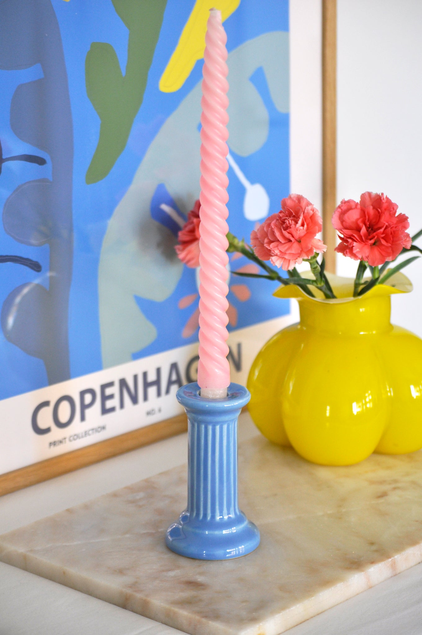 VINTAGE BLUE CERAMICS PILLAR CANDLE STICK
