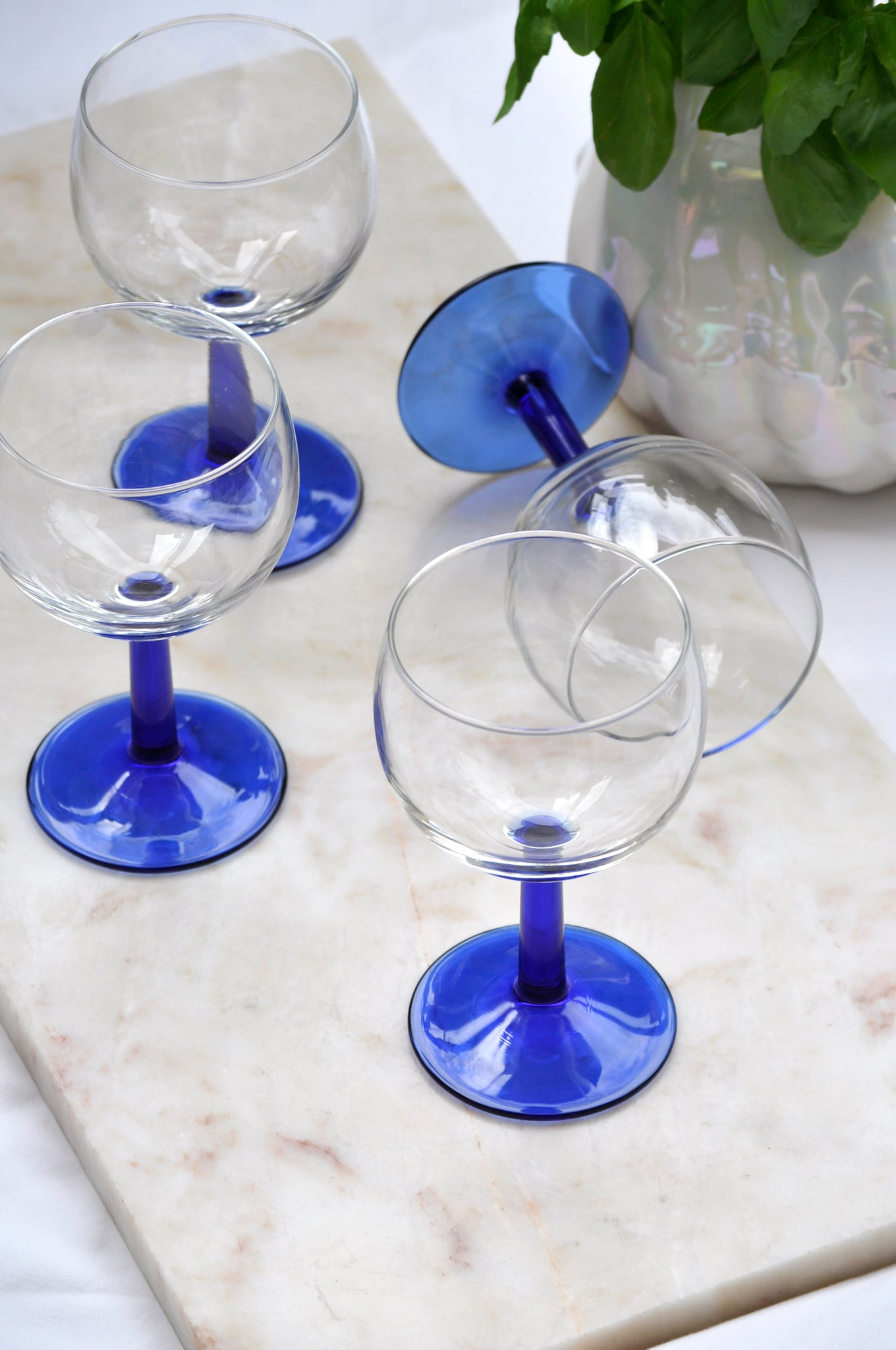 VINTAGE FRENCH DARK BLUE FOOT WINE GLASSES - SET OF FIVE