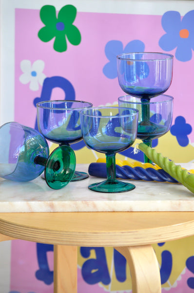 VINTAGE BLUE AND GREEN WINE GLASSES - SET OF 5