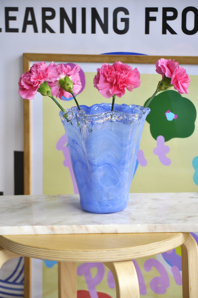 VINTAGE BLUE DREAMY GLASS VASE