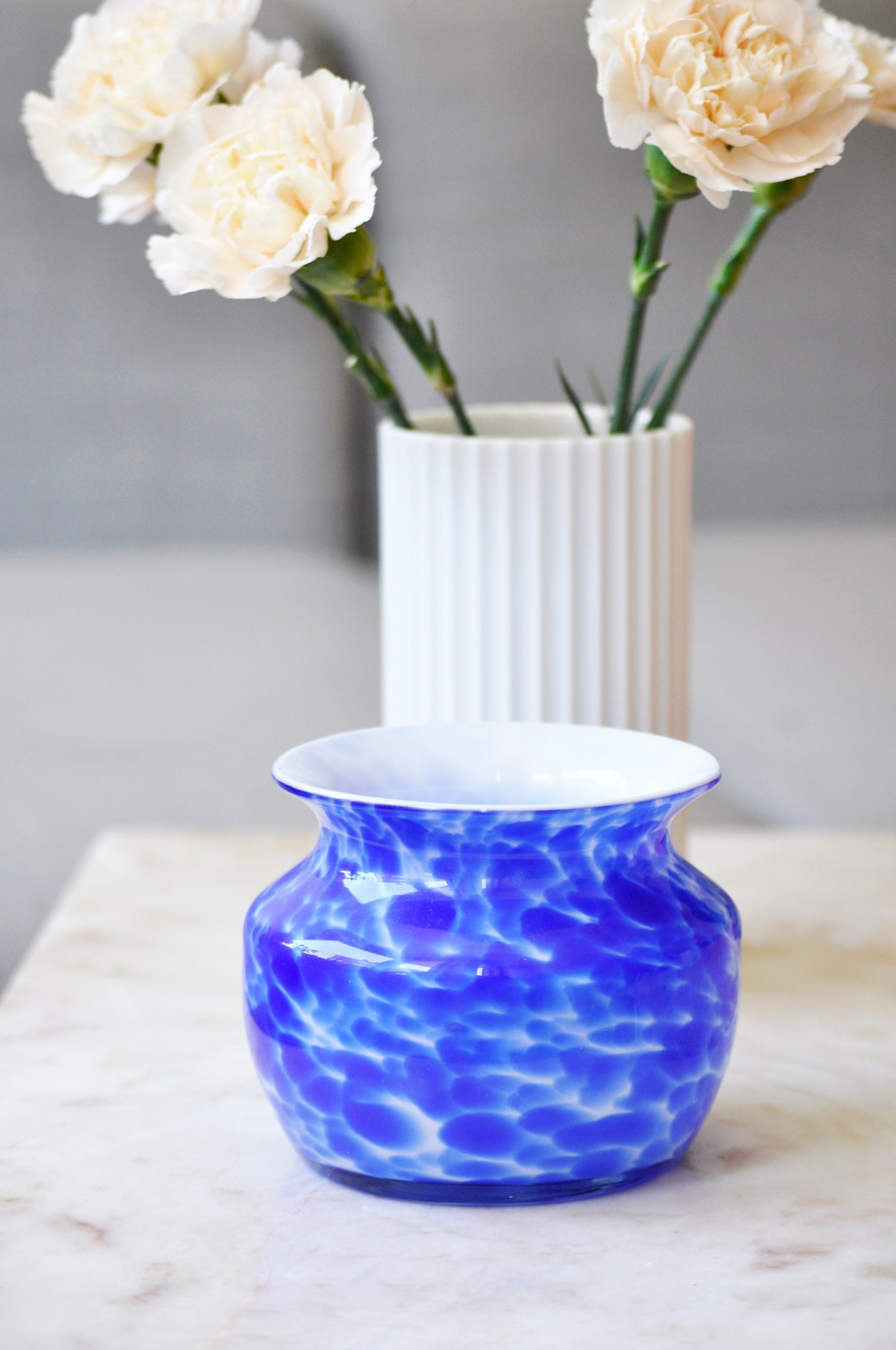 VINTAGE BLUE DOTTED BOWL/VASE