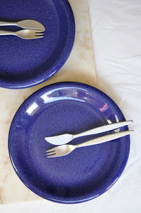 VINTAGE BLUE MELANGE HEAVY DINNER PLATES - SET OF 5