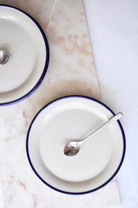 VINTAGE CREAM WITH BLUE STRIPE LUNCH PLATE - SET OF 6