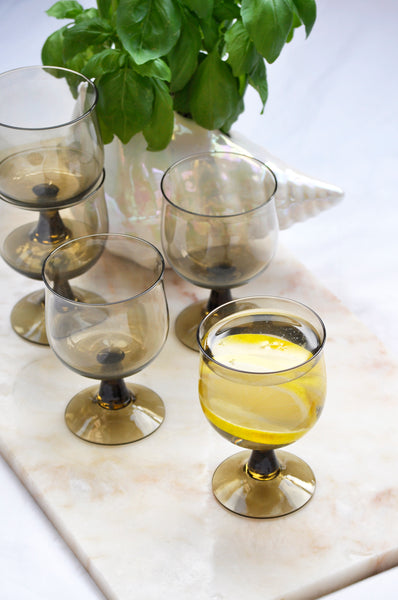 VINTAGE SMOKED WINE GLASSES - SET OF 5