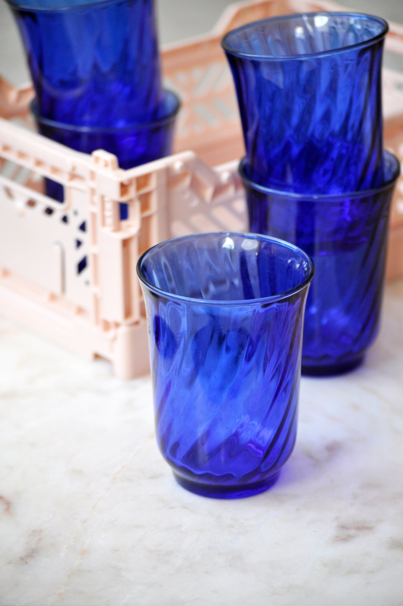 VINTAGE FRENCH BLUE SWIRL WATER GLASSES - SET OF FIVE