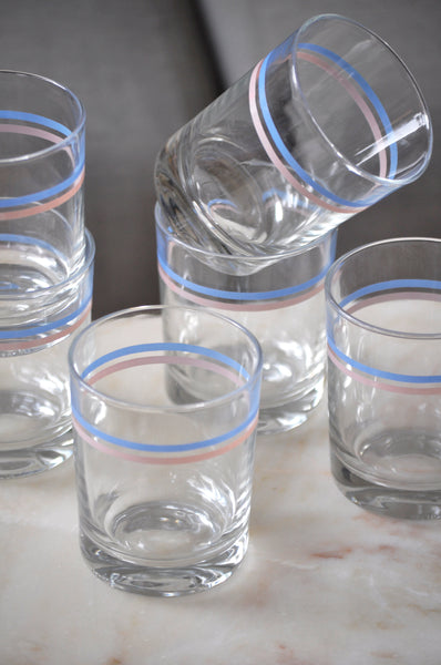 VINTAGE STRIPED GLASSES LOW - SET OF SIX