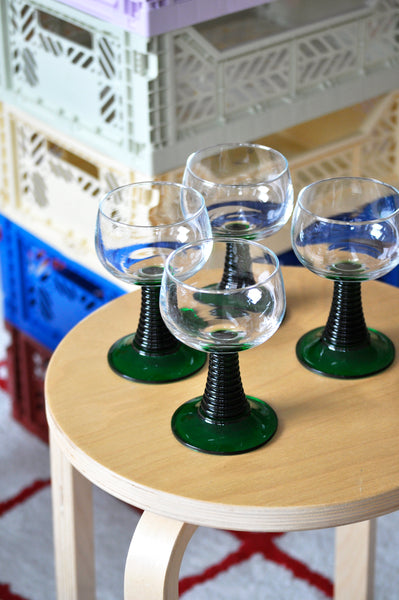 VINTAGE FRENCH HEAVY FOOT GLASSES - SET OF FOUR