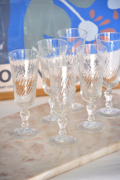 VINTAGE FRENCH SWIRL CHAMPAGNE GLASSES - SET OF 6