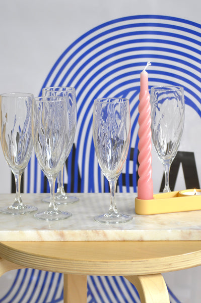 VINTAGE FRENCH SWIRL CHAMPAGNE GLASSES - SET OF 5