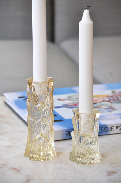 VINTAGE SQUARE YELLOW GLASS CANDLESTICKS - SOLD AS A SET