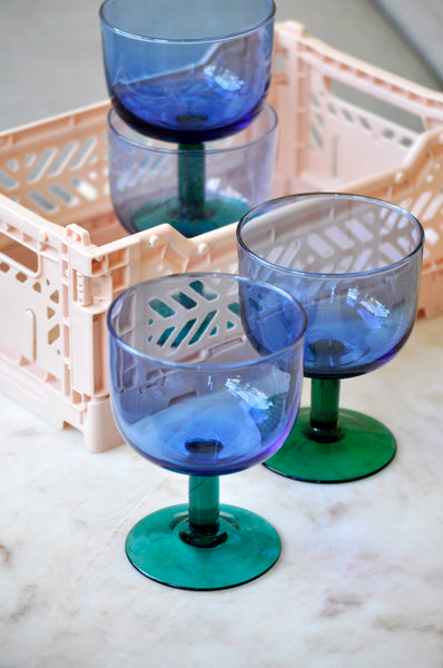 VINTAGE BLUE AND GREEN WINE GLASSES - SET OF FOUR