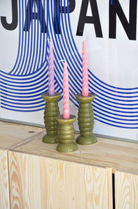 VINTAGE GREEN CATERPILLAR CANDLESTICKS - 2 SIZES AVAILABLE