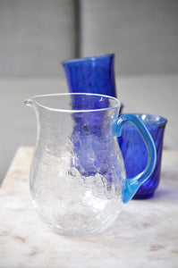 VINTAGE SPRECKLED HANDMADE GLASS PITCHER
