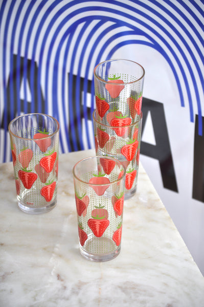 VINTAGE ITALIAN STRAWEBERRY TALL GLASSES - SET OF 4