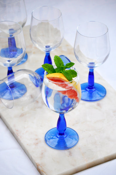 VINTAGE ITALIAN BLUE FOOT WINE GLASSES - SET OF SIX