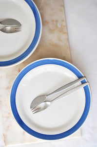 VINTAGE WHITE WITH BRIGHT BLUE STRIPE DINNER PLATES - SET OF 6