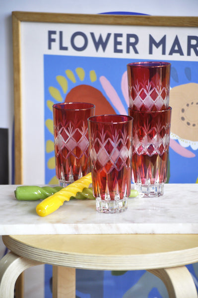 VINTAGE ITALIAN RED TALL GLASSES - SET OF 4