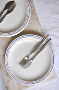 VINTAGE PINK AND BLUE STRIPED DINNER PLATES - SET OF FIVE