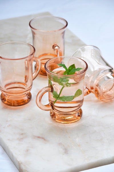 VINTAGE PINK GLASS CUPS - SET OF 4