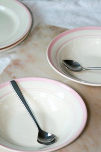 VINTAGE PASTA/SOUP PLATES PINK STRIPE - SET OF TWO