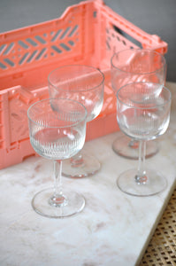 VINTAGE CHAMPAGNE TEXTURED GLASSES - SET OF FOUR