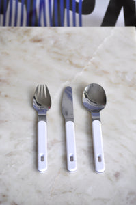 VINTAGE RETRO PLASTIC HANDLE FLATWARE - SET OF 12