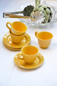 VINTAGE YELLOW COFFEE CUP AND SAUCER - SET OF FOUR