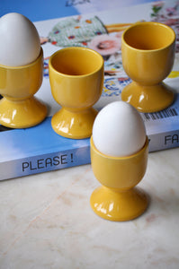 VINTAGE YELLOW EGG CUPS - SET OF FOUR