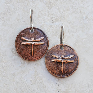Pressed Copper Penny Dragonfly Earrings