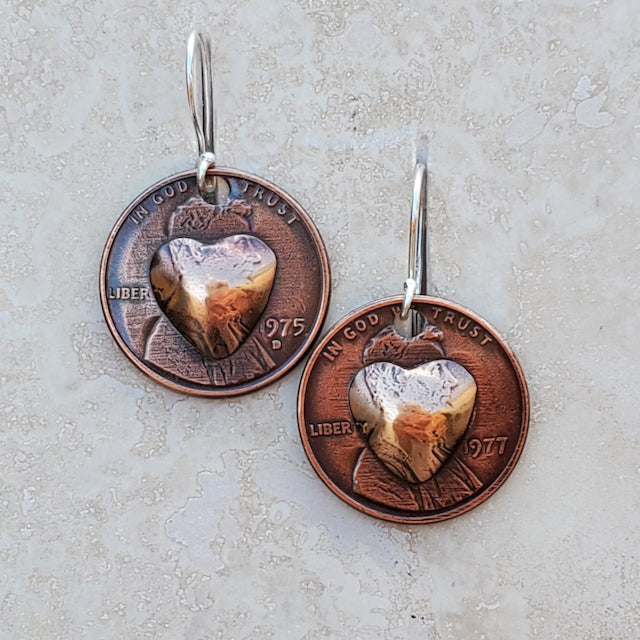 Pressed Copper Penny Heart Earrings