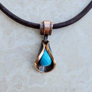 Copper Penny Petal Necklace with Turquoise