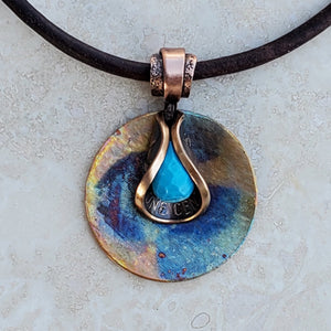 Turquoise Penny Petal Necklace on Colorful Disc