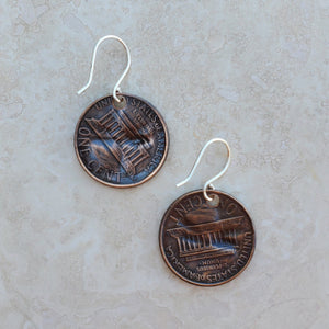 Pressed Copper Penny Hummingbird Earrings