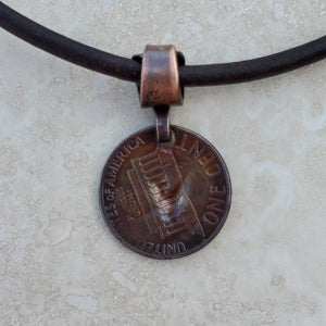 Pressed Copper Penny Hummingbird Necklace