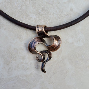 Copper Penny Ribbon Swirl Necklace