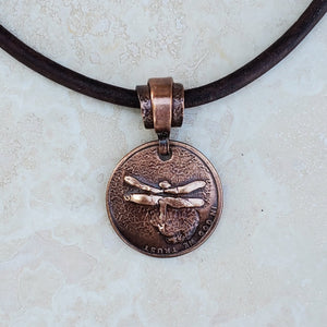 Pressed Copper Penny Dragonfly Necklace