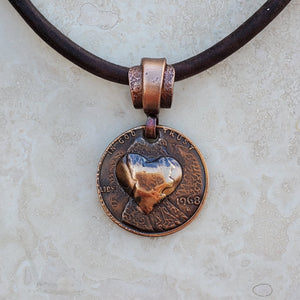 Pressed Copper Penny Heart Necklace