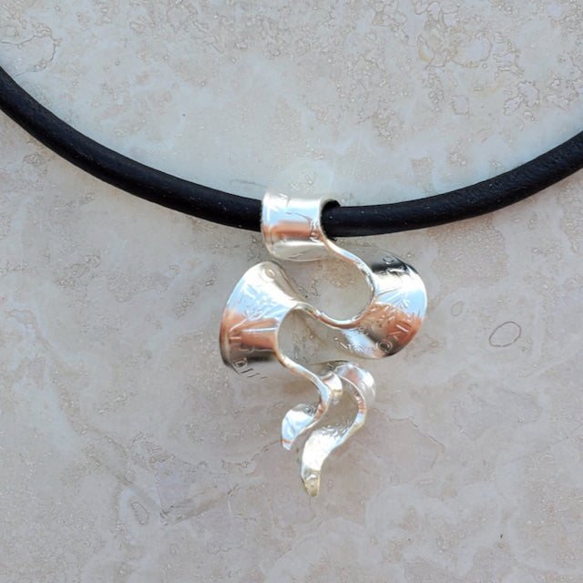 Silver Coin Ribbon Swirl Slide Necklace