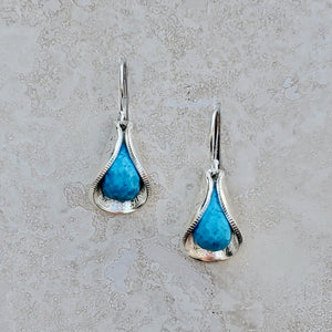 Faceted Blue Turquoise Silver Dime Petal Earrings