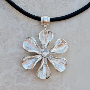 Silver Dime Flower Blossom Necklace