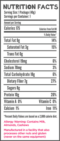 HEROFUEL Nutrition Label