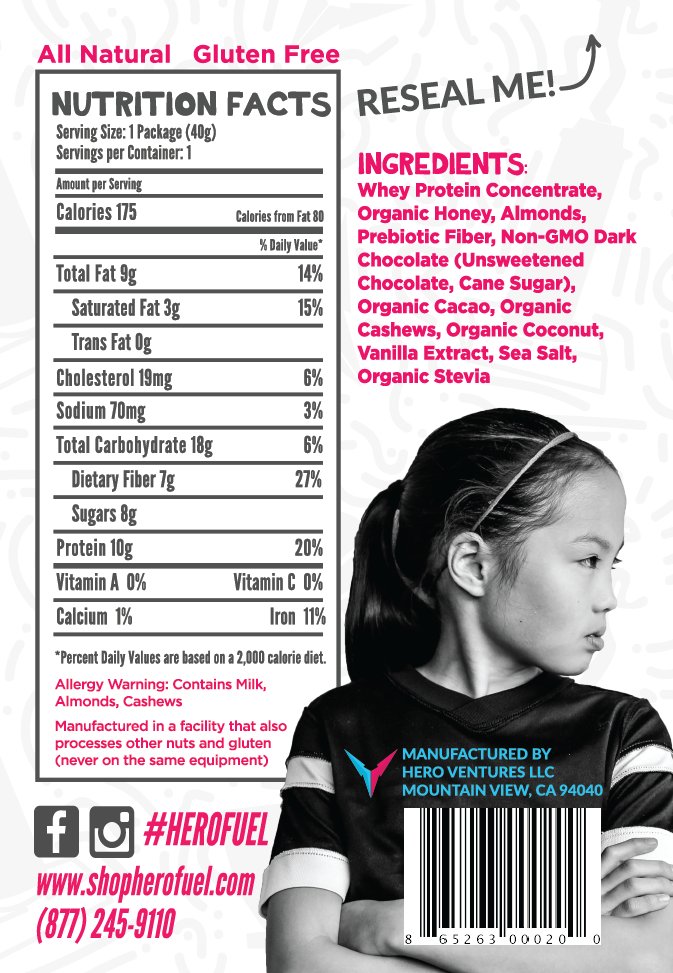 Hero Fuel Nutrition Label