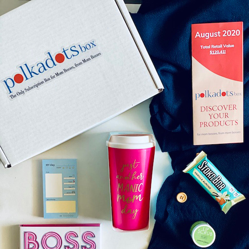 Pearhead's Manic Mom Day Tumbler Travel Mug featured in August's Polkadots Box