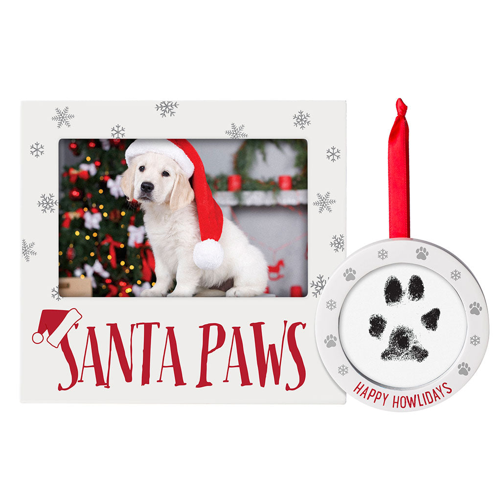 Pearhead's santa paws frame and ornament set
