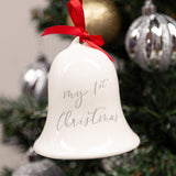 "Pearhead's ""my first christmas"" bell ornament"