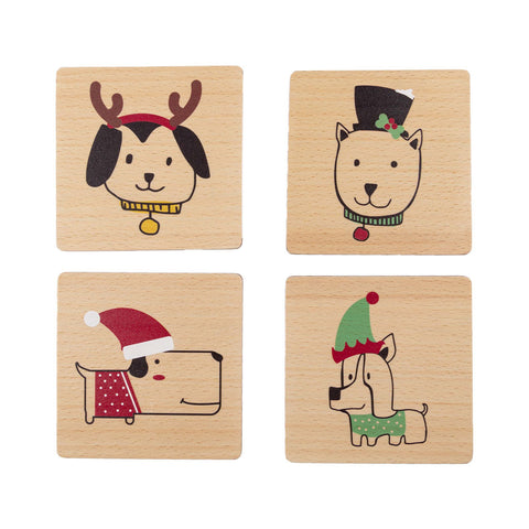 Pearhead's holiday dogs coaster set