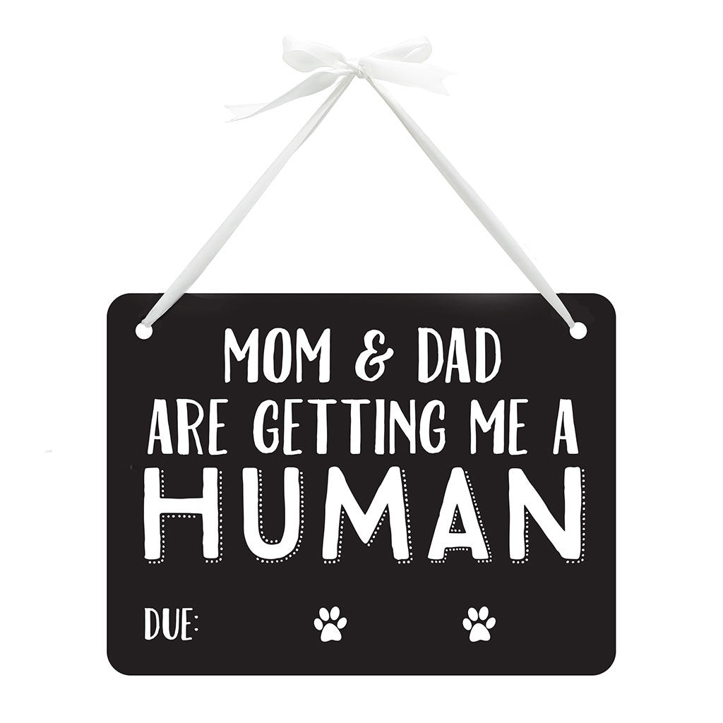 pearhead's pet baby announcement chalkboard