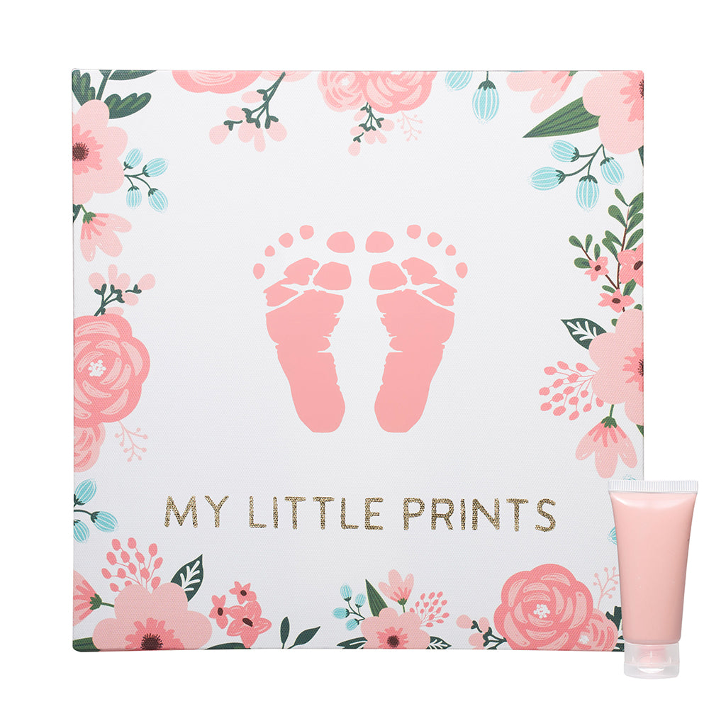 pearhead's floral babyprints wall art