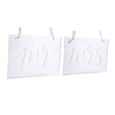 Pearhead's mr and mrs chair signs