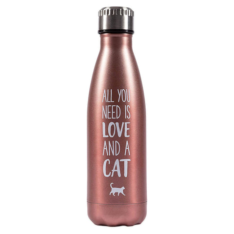 "Pearhead's ""all you need is love and a cat"" water bottle"